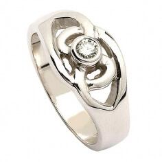 Diamantring mit keltischem Knoten - Weißes Gold