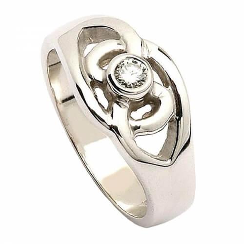 Celtic Knot Diamond Ring - White Gold
