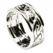 Herren Ewiger keltischer Knoten Ring mit Trim - Alles weißes Gold
