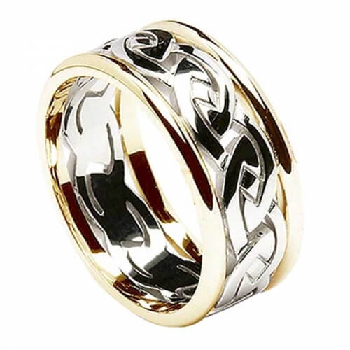 Men's Eternal Celtic Knot Ring with Trim - White with Yellow Trim