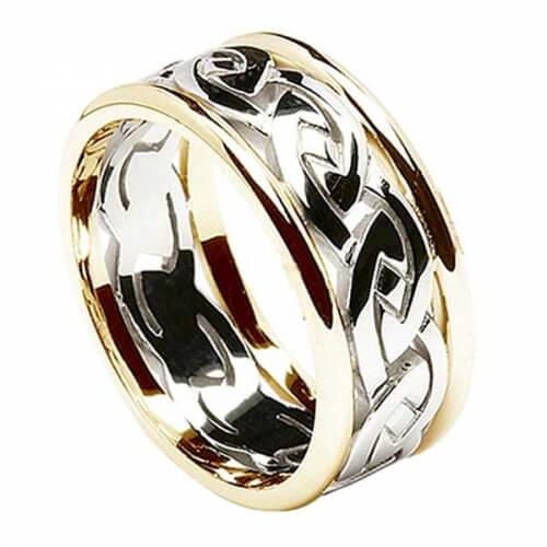Herren Ewiger keltischer Knoten Ring mit Trim - Weiß mit gelbem Rand