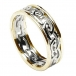 Womens Eternal Celtic Knot Ring with Trim - White with Yellow Trim