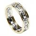 Damen Ewiger keltischer Knoten Ring mit Trim - Weiß mit gelbem Rand