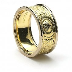 9mm Celtic Warrior Ring 14K Gold with White Trim