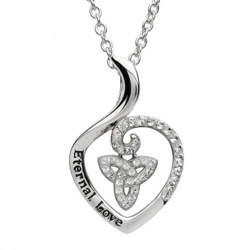 Heart Shaped CZ Trinity Pendant