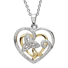 Celtic Trinity Heart CZ Pendant