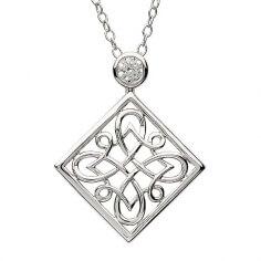 Pendentif noeud celtique en argent avec zircone
