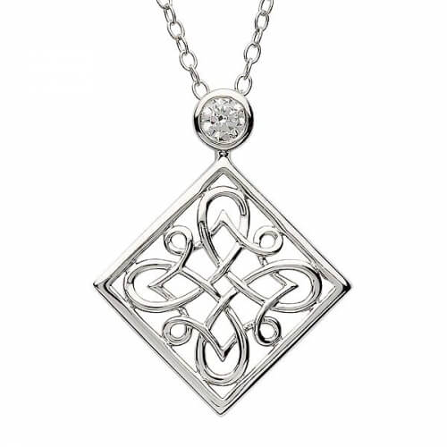 Silver Celtic Knot Pendant with Zirconia