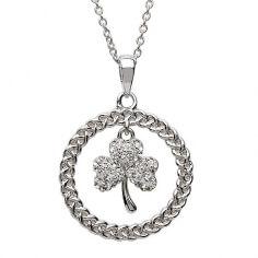 Shamrock Necklace with Swarovski Crystal