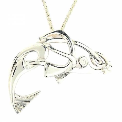 Keltischer Lachs Anhänger - Weißgold oder Silber
