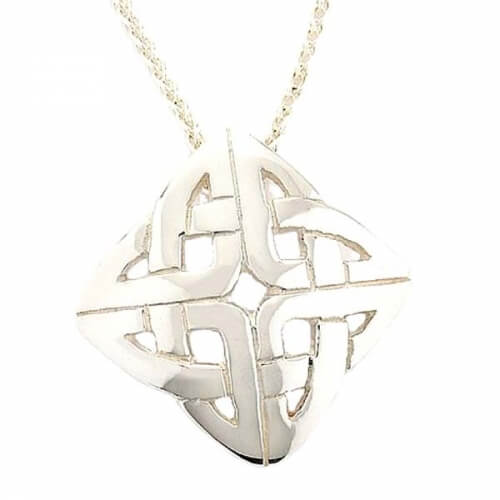 Celtic Knot Pendant - White Gold or Silver