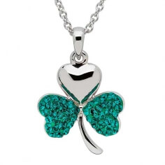 Shamrock Pendant With Swarovski Crystals