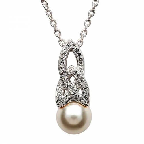 Celtic Pearl Pendant with Swarovski Crystals