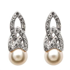 Trinity Knot Pearl Earrings with Swarovski Crystals