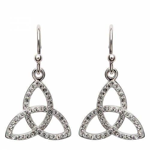 Trinity Knot Earrings with Swarovski Crystals