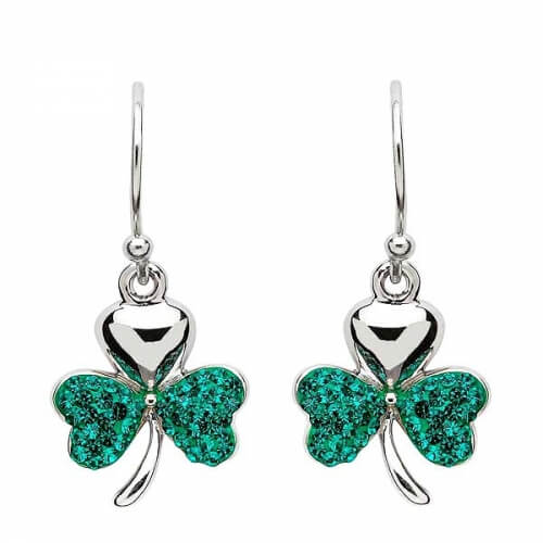 Shamrock Earrings with Swarovski Crystals