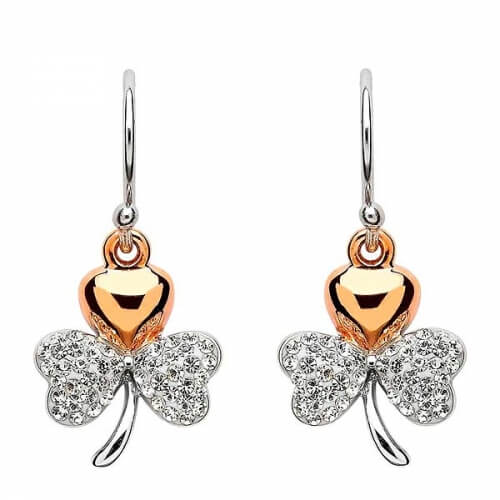 Gold-Plated Swarovski Shamrock Earrings