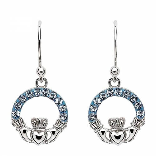 Claddagh Earrings with Sapphire Crystals