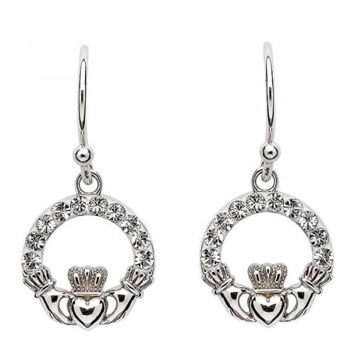 Claddagh Earrings with White Crystals