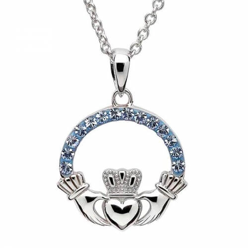 Claddagh Pendant with Sapphire Crystals
