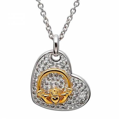 Claddagh Heart Pendant with Swarovski Crystals