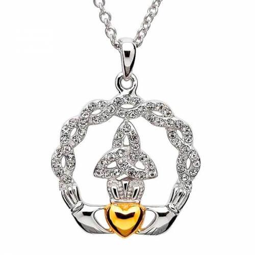 Claddagh Dreieinigkeit Anhänger mit Swarovski-Kristallen