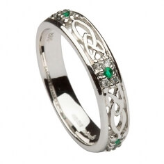 Emerald Trinity Knot Ring - All White Gold