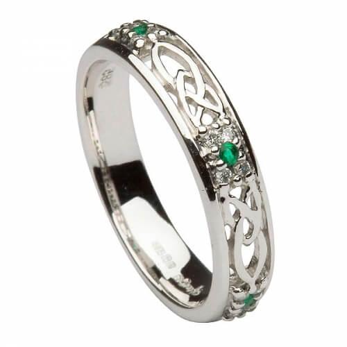Smaragd Trinity Knoten Ring - alles Weißgold