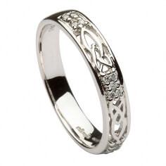 Trinity Knot Diamond Ring - All White Gold