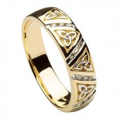 Femmes anneau de mariage noeud trinité diamant - or jaune