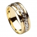 Women's Inset Celtic Knot Wedding Band - Yellow and White Gold