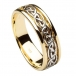 Men's Inset Celtic Knot Wedding Band - Yellow and White Gold