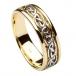 Keltischer Knoten Hochzeitsband der Männer - Gelb und Weißgold