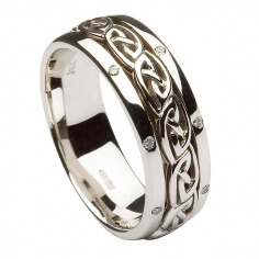 Women's Inset Celtic Knot Wedding Band - All White Gold