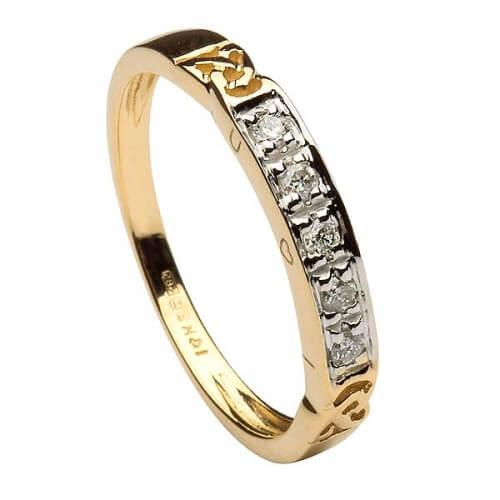 Damen Ewigkeit Knoten Ring mit Diamanten - Gelbgold
