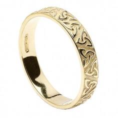 Femme anneau de mariage noeud Trinity en relief - or jaune