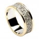 Women's Embossed Trinity Knot Ring with Trim - White with Yellow Gold Trim