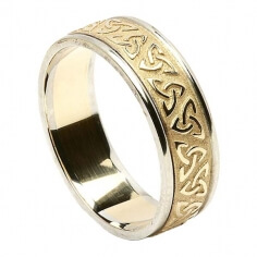 Men's Embossed Trinity Knot Ring with Trim - Yellow with White Gold Trim