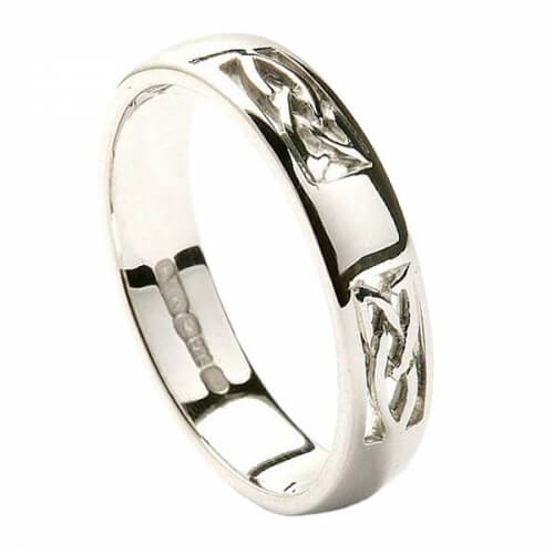 Trinity Inset Wedding Ring - All White Gold