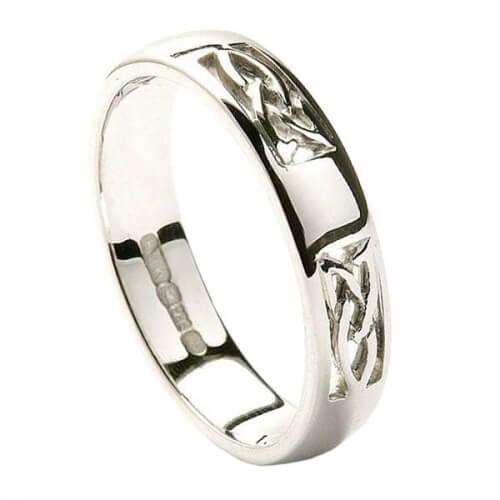 Trinity bague de mariage incrustée - tout l'or blanc