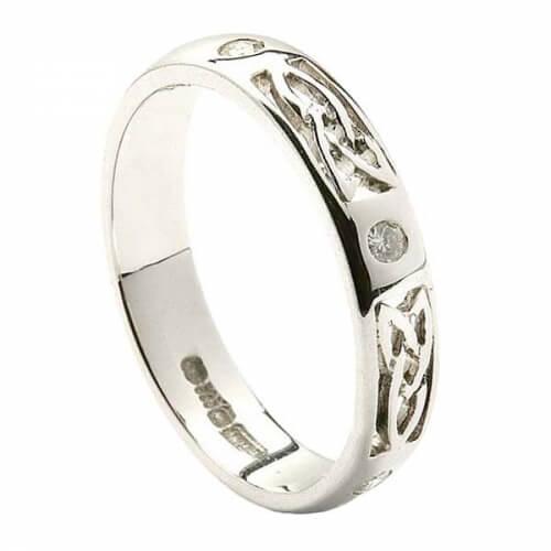Trinity Diamond Wedding Band - All White Gold