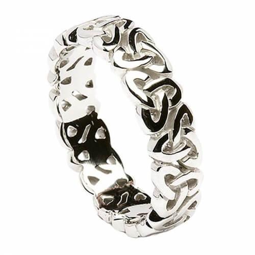 Hommes anneau de mariage noeud trinité - Or blanc ou argent