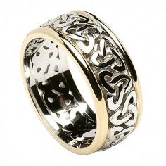 Herren Trinity Knoten Ring mit Trim - Alles weiße Gold