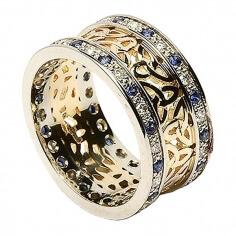 Trinité cluster anneau avec saphir garniture - Jaune avec bordure blanche