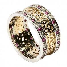 Trinité cluster anneau avec rubis garniture - Jaune avec bordure blanche