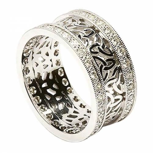 Anneau de Trinité avec garniture de diamant - Tout l'or blanc