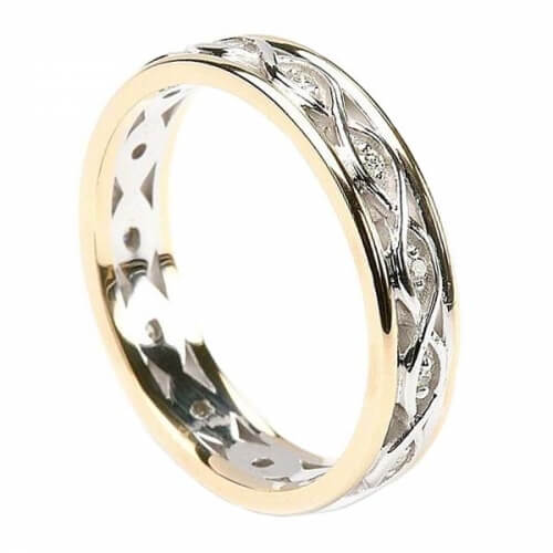 Infinity Diamond Ring with Trim - White Gold with Yellow Gold Trim