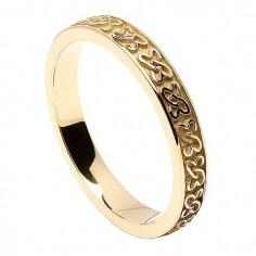 Damen keltische Herzen Ehering - Gelbgold