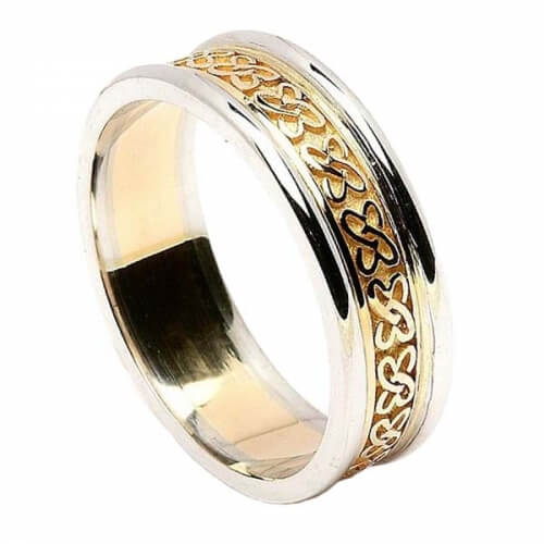 Women's Celtic Hearts Band with Trim - Yellow with White Trim