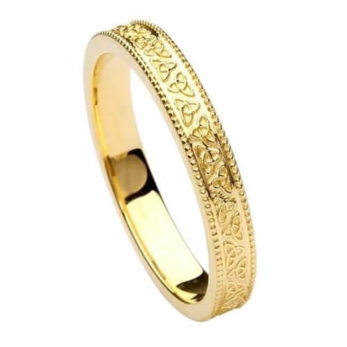 Damen Trinity Knoten Ehering - gelbes Gold
